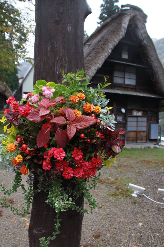 「五箇山合掌造り集落世界遺産登録20周年記念式典」会場装飾花